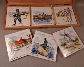 Danish Souvenir Tiles Set of Six in Original Box