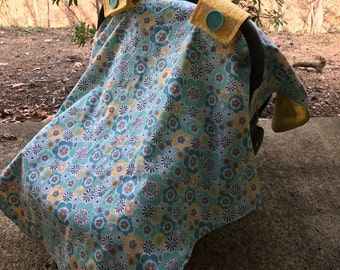 Turquoise and Yellow Car Seat Canopy Cover