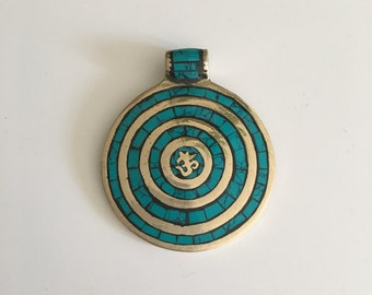 Beautiful Unique Ethnic Tribal Boho turquoise pendant, bohemian jewelry, bohemian pendant, bohemian necklace