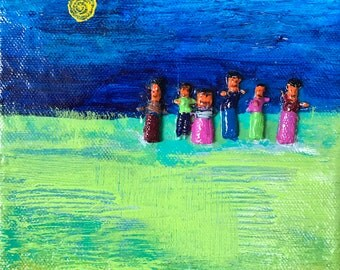 Worry Doll Art . 6 inches x 6 inches . Children's Art