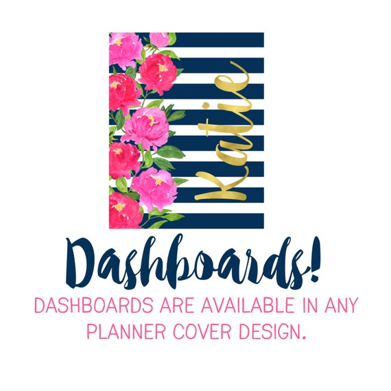 Dashboards Are Available in Any Of My Planner Cover Designs