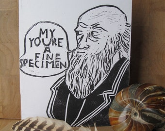 Charles Darwin Card, Geek Valentine's Day card, Science Valentines day, Science Love, Nerd Valentines, Linocut card, Fine Specimen