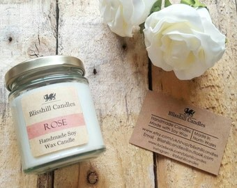 Rose - Handmade soy wax scented candle jar- 8oz jar candle - gift