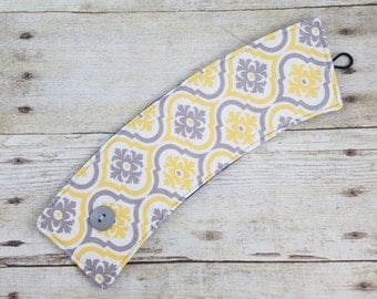 Yellow and Gray Fabric Fabric Coffee sleeve, Reusable cup cozy, Eco friendly, Coffee cup sleeve, Coffee cozy, cup cozy, cup sleeve, cozie