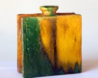 Gli Etruschi Vintage Italian Pottery Slab Vase