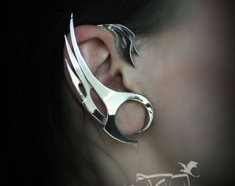 Ear Cuff Steel wings | Steel feathers | Jewelry wings | Jewelry cuffs | Bird earrings | dragon wings