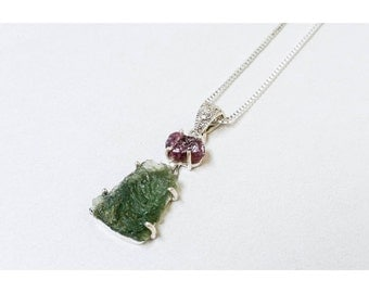 Pink Tourmaline & Moldavite 925 Sterling Silver Necklace with Sterling Chain