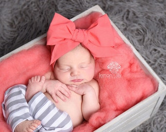 CORAL Gorgeous Wrap- headwrap; fabric head wrap; coral head wrap; boho; newborn headband; baby headband; toddler headband