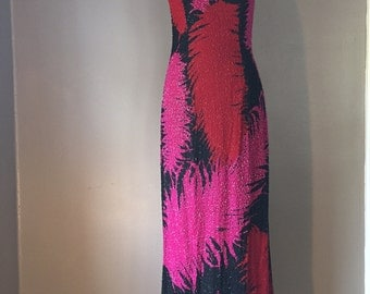 Vintage beaded gown/Long dress/Floral/Size:Small