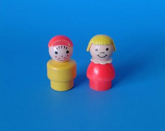 "Fisher Price Little People "" #656 Little Riders Boy & Girl "" 1970's"