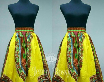 African skirt,yellow Dashiki Skirt African print skirt,Ankara MiDi   skirt, African  clothing high waist skirt