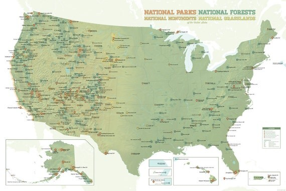 US National Parks Monuments Forests Map X Poster - Us national forests on a map