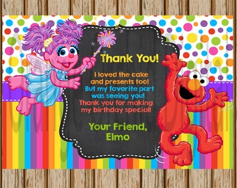 "PERSONALIZED- Sesame Street Thank You Card- Elmo Thank You Card- Abby Thank You Card- 4""x6"" size- Digital Item- Print at Home"