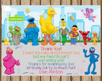 "PERSONALIZED- Sesame Street Thank You Card- Elmo and Abby Thank You - Grover Thank You Card- Big Bird Thank you card- 5""x7"" size- Digital"