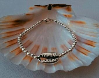 Cowrie shell silver bracelet UK