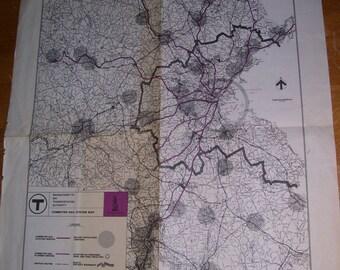 "Early Massachusetts Bay Transportation Authority Commuter Rail  Map 22x21"""