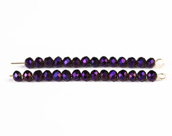 2277_Jewelry glass 4x3 mm, Faceted beads,Violet glass beads,Metalic beads,Faceted roundel beads,Crystal beads for jewelry,Rondelle beads_145
