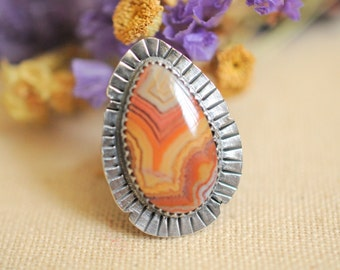 AUTUMN COLORS. Dryhead Agate sterling silver ring . handmade boho bohemian jewelry. Collector ooak jewelry
