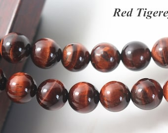 Red Tigereye Beads, Natural and Smooth Round Beads, 15 inch strands