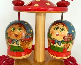 Unique Miniature Salt and Pepper Shakers Set, Russian Nesting Dolls, Wooden Red Mushroom House, Toadstool House, Matryoshka Dolls.