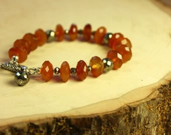 Faceted Carnelian and Pyrite Bracelet