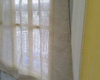 Sheer Linen Curtains, Natural Linen Cafe Curtains, Sheer Kitchen Curtains, Window Curtains, Lace Cafe Curtains, Sheer Oatmeal Linen curtains