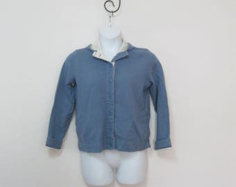 Vintage Blue Misses Size M Button Front Sweatshirt Hoodie Hooded Sweatshirt with Pockets SEE Details