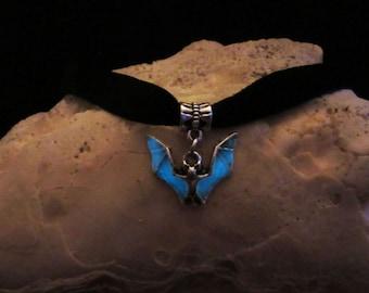 Bat Black Velvet Ribbon  necklace // glow in the dark