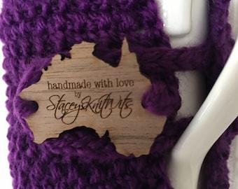 Handmade purple cup cozy or mug, tea cosy, coffee cozy, purple mug cozy, purple tea cozy, coffee cosy, purple cup cosy
