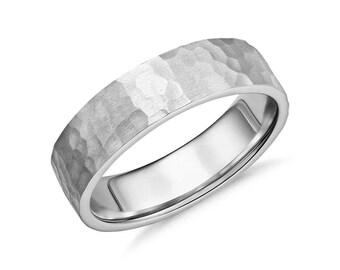 Men's Hammered Comfort Fit Wedding Ring - 6mm Wide -  Platinum or 14K Gold (6mm) - Hammered Flat Mens Wedding Band
