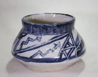 Cobalt Blue and White Kiva Style Stoneware Ceramic Lidded Jar with Lightening Designs.