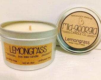 Lemongrass Soy Candle Tin 8oz.