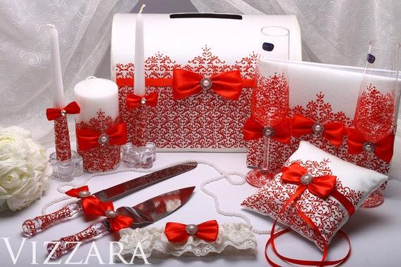 Red Wedding Card Box Set Wedding accessory Garter Guest book – Red Wedding Card Box