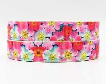 7/8 inch - Flowers Floral Pink Tones - Printed Grosgrain Ribbon for hair bow