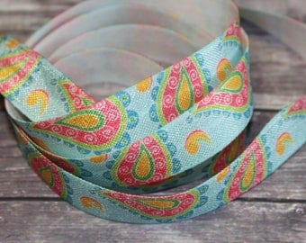 "5/8"" Light Aqua Teal Paisley Floral Pattern DIY Headband Supplies Fold Over Elastic FOE Per Yard"
