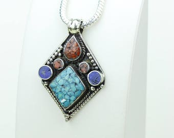 Gotta Make It Special! Lapis Coral Turquoise Native Tribal Ethnic Vintage Nepal Tibetan Jewelry OXIDIZED Silver Pendant + Chain P3949