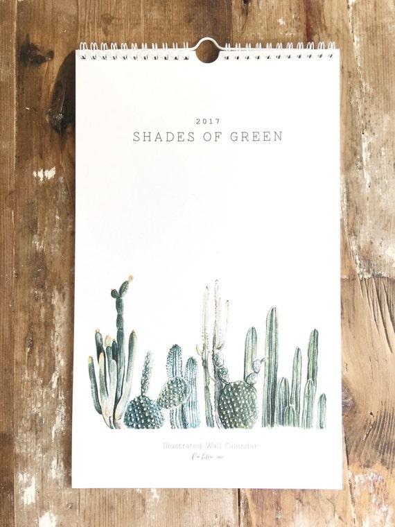 Hanging Calendar Design : Shades of green large wall calendar spiral bound