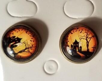 Handmade Glass Bead Haunted House Stud Earrings