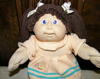 Vintage Cabbage Patch Kid Doll # 10 HM/Brown Poodle/Blue Violet Eyes