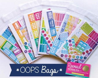 OOPS BAG! 10 *IMPERFECT* sheets plus a Planner Envy sticker reveal card! Please read entire description. Cannot use any discount codes!