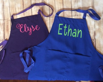 1 Personalized kids apron with name many colors pizza party favor Christmas gift