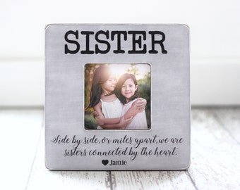 Christmas GIFT for Sister Personalized Picture Frame Sisters Best Friend  Side By Side Quote Long Distance