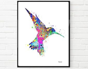 WatercolorPrint Hummingbird Home Decor Wedding Gift  Wall Decor Aminal Wall Art  Bird Art Printable Digital Instant Download