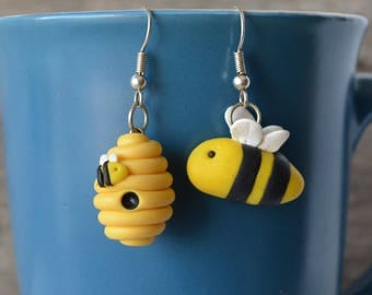 Bee Hive, Bumble-Bee Polymer Clay Earring Set