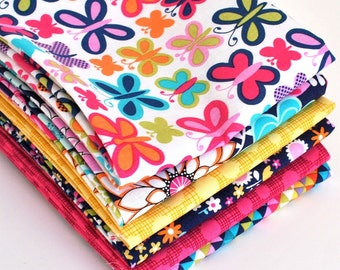 Sweet Butterfly 6pc Fat Quarter Bundle - Michael Miller Fabrics, Butterfly Fabrics, Quilting Pre-cuts