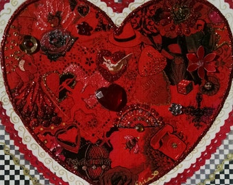 Big Red Valentine Heart Card-Valentine,Dove,Roses,Telephone,Vintage,Valentine's Day, Fancy, Embellished