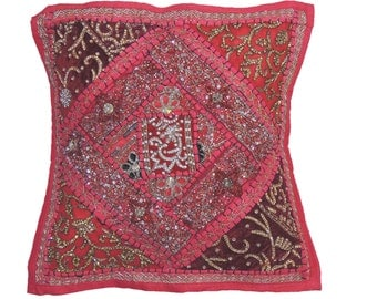 """Hot Pink Decorative Pillow for Couch - Beaded Embellished Living Room Indian Handmade Patchwork Sofa Throw Cushion Cover 16"""" x 16"""" - NH17191"""