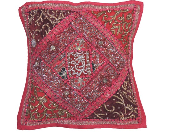 Pink Beaded Decorative Pillow : Hot Pink Decorative Pillow for Couch Beaded Embellished