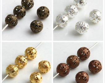4mm,6mm,8mm,10mm,Round Filigree Spacer Beads Plated / Gold,Silver,Copper,Bronze