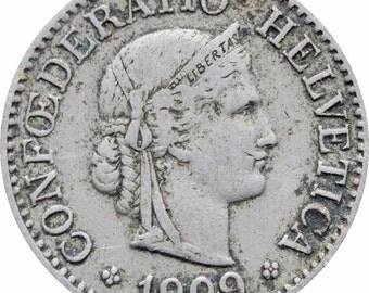 1909 Switzerland 10 Rappen Coin
